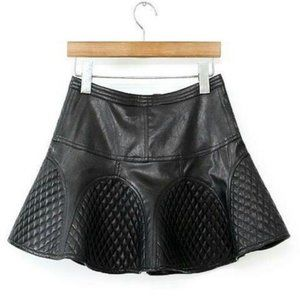 Dresses & Skirts - Trumpet Umbrella Faux Leather Quilted Skirt